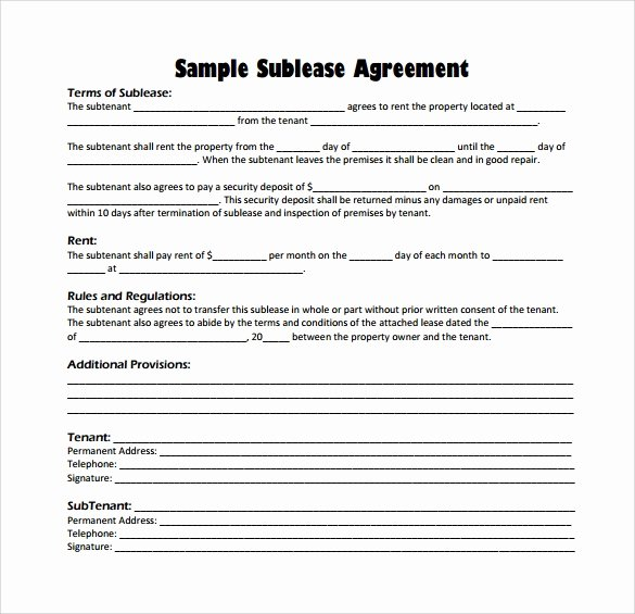 Sublease Agreement Template Word Best Of Free 25 Sample Free Sublease Agreement Templates In