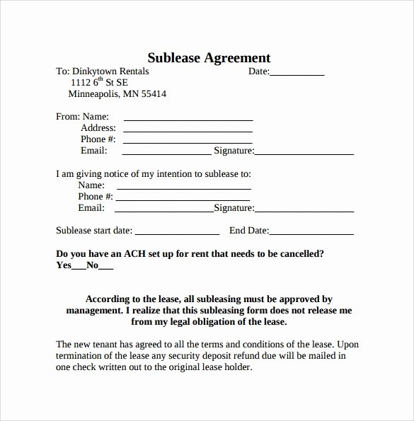 Sublease Agreement Template Word Elegant Free 25 Sample Free Sublease Agreement Templates In