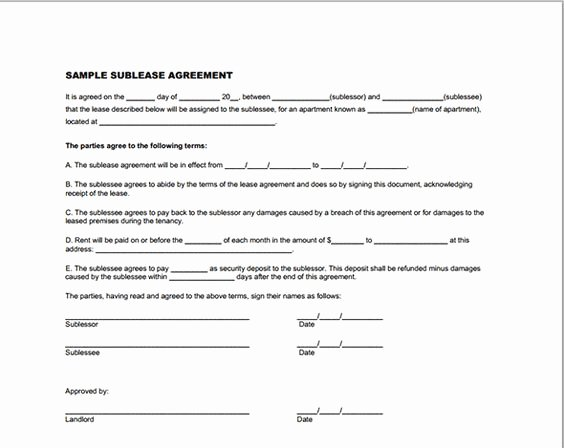 Sublease Agreement Template Word Elegant Templates On Pinterest