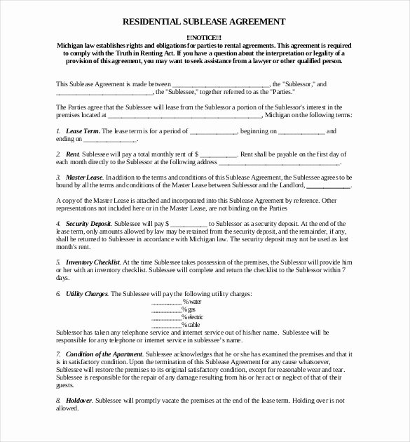 Sublease Agreement Template Word Inspirational 10 Useful Sublease Agreement Template for House and Apartment