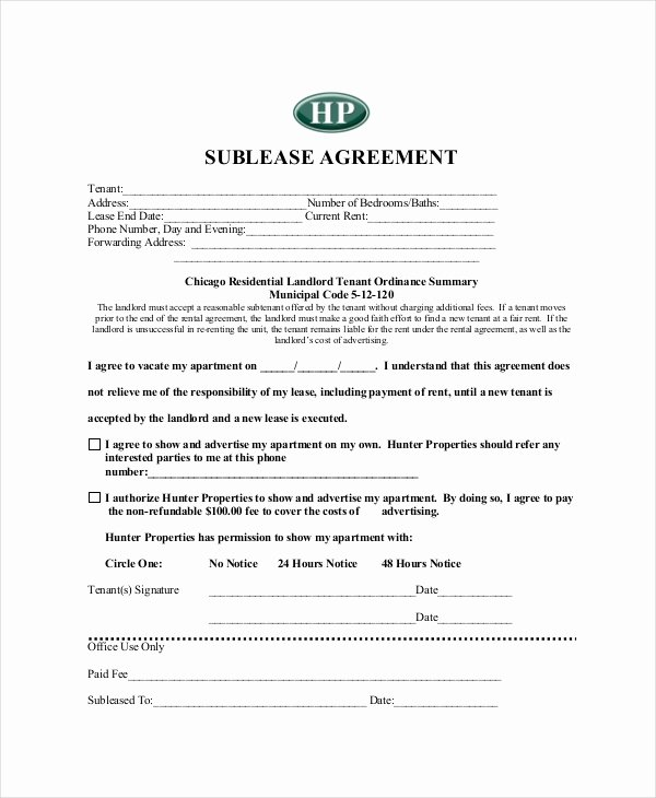 Sublease Agreement Template Word Luxury 13 Sublease Agreements Word Pdf Pages