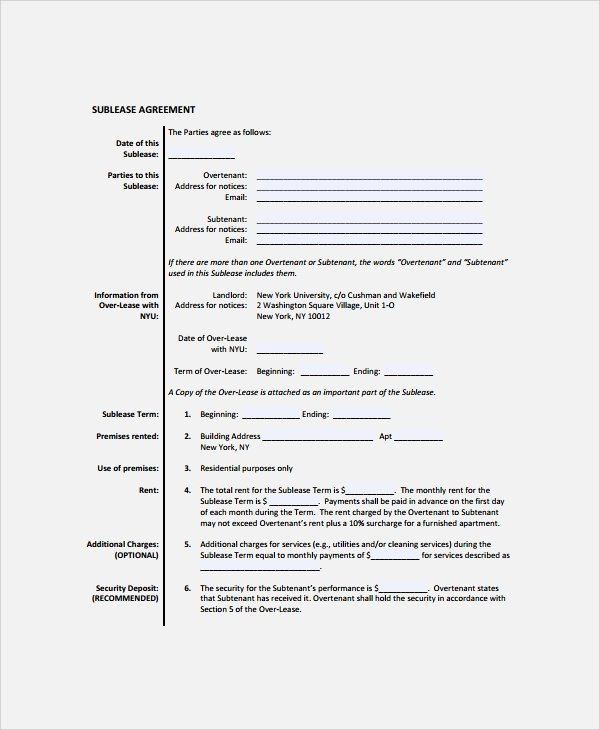 Sublease Agreement Template Word New 10 Mercial Sublease Agreements Word Pdf Pages