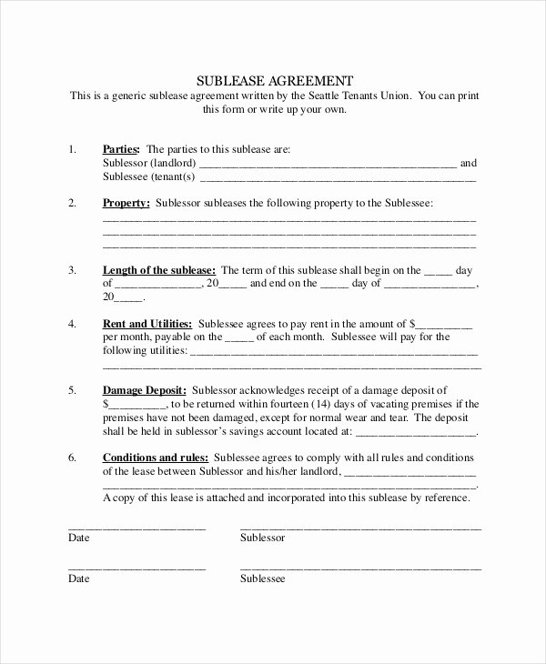 Sublease Agreement Template Word New 13 Sublease Agreements Word Pdf Pages