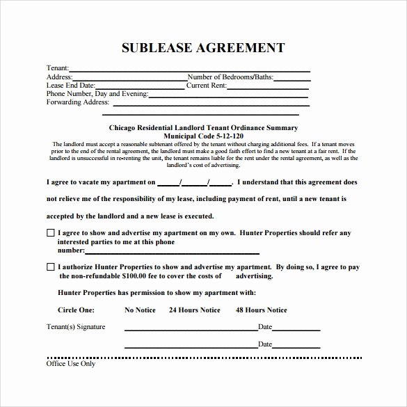 Sublease Agreement Template Word New Free 25 Sample Free Sublease Agreement Templates In