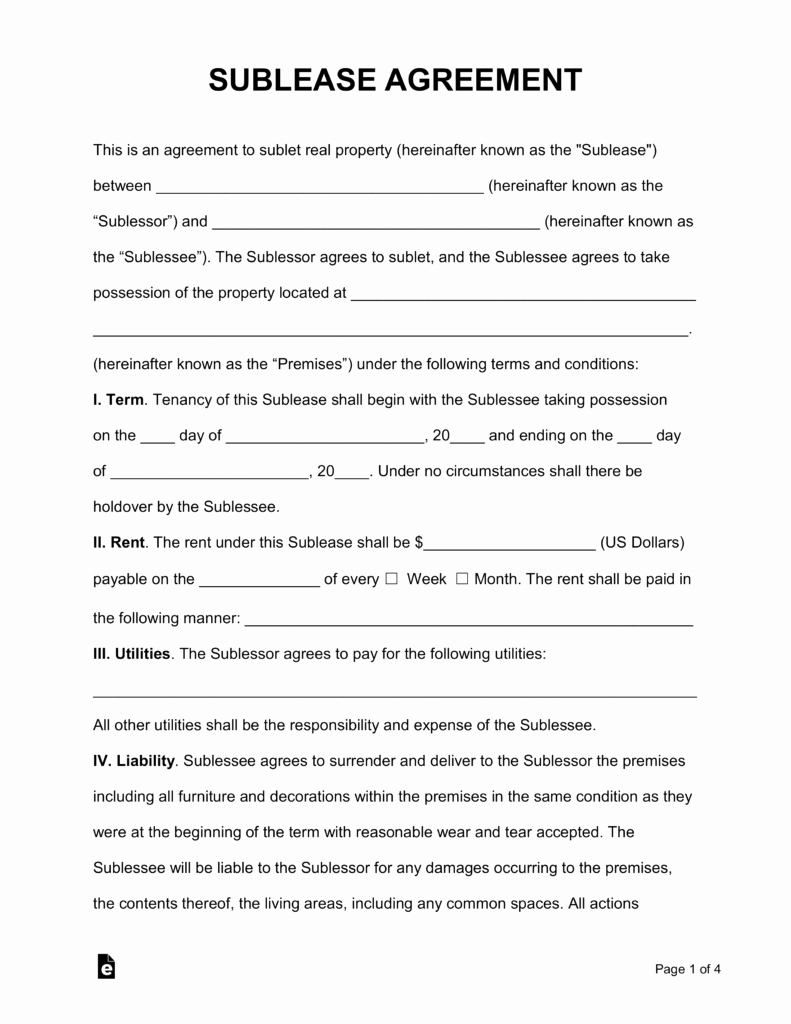 Sublease Agreement Template Word New Free Rental Lease Agreement Templates Residential