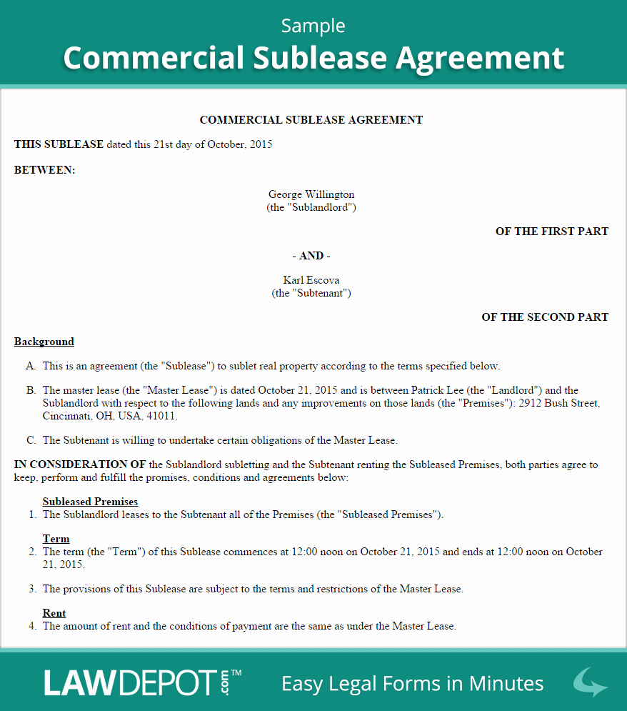 Sublease Agreement Template Word New Mercial Sublease Agreement Template Us