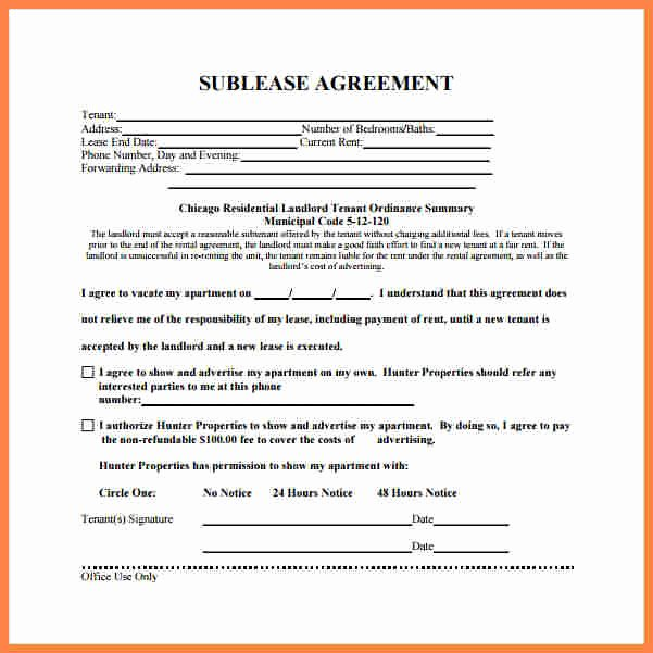 Sublease Agreement Template Word Unique 6 Residential Sublease Agreement Template