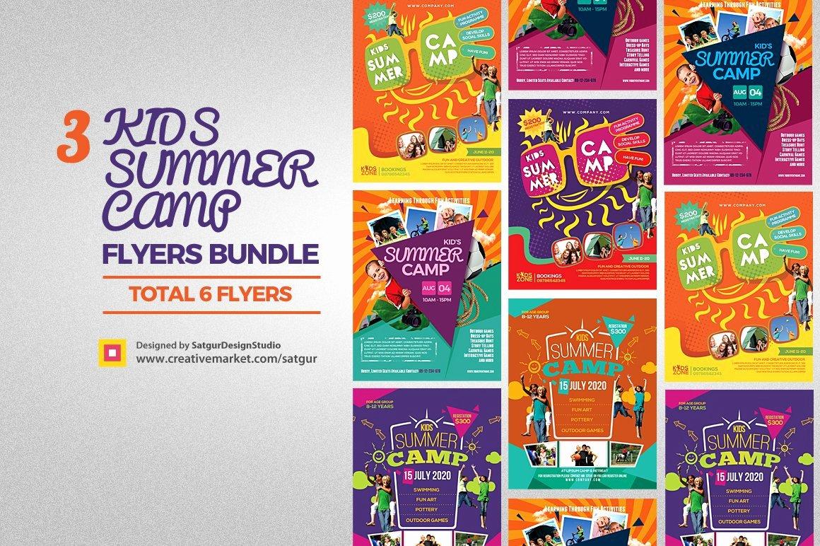 Summer Camp Flyer Template Free Elegant Kids Summer Camp Flyers Bundle Flyer Templates