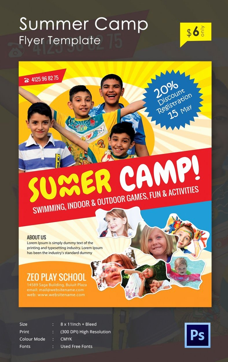 Summer Camp Flyer Template Free Lovely Summer Camp Flyer Templates – 47 Free Jpg Psd Esi