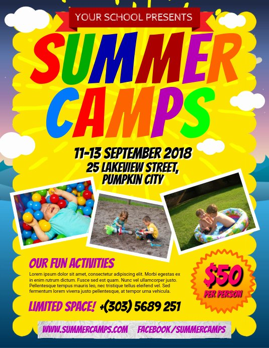 Summer Camp Flyer Template Free Luxury Copy Of Summer Camps Flyer