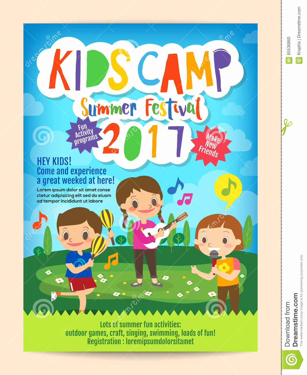 Summer Camp Flyer Template Free Luxury Kids Summer Camp Education Poster Flyer Stock Vector