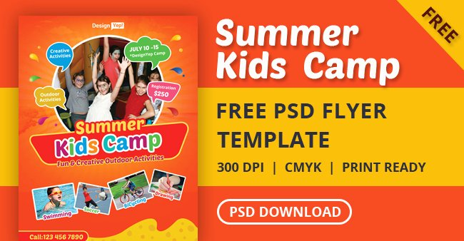 Summer Camp Flyer Template Free New Free Kids Summer Camp Flyer Psd Template Designyep