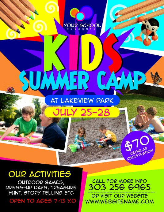 Summer Camp Flyer Templates Free Awesome Kids Summer Camp Flyer Template