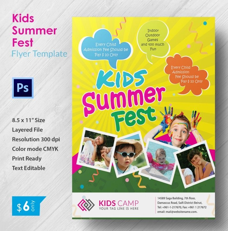 Summer Camp Flyer Templates Free Best Of 3 Perfect Kids Summer Fest Flyer Templates Word Psd