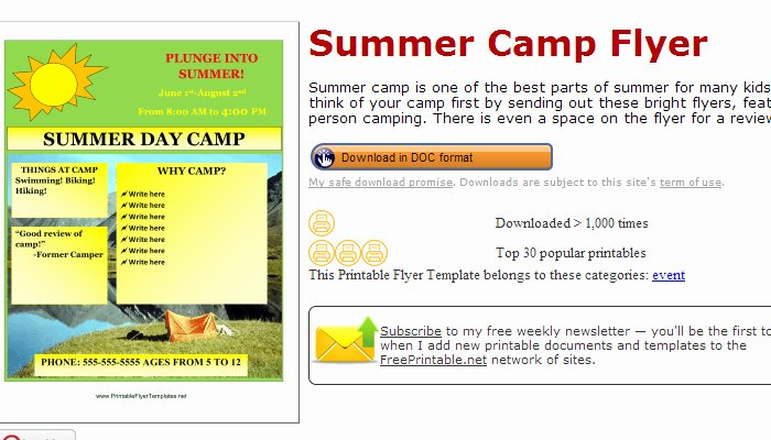 Summer Camp Flyer Templates Free Best Of 5 Summer Camp Flyer Templates
