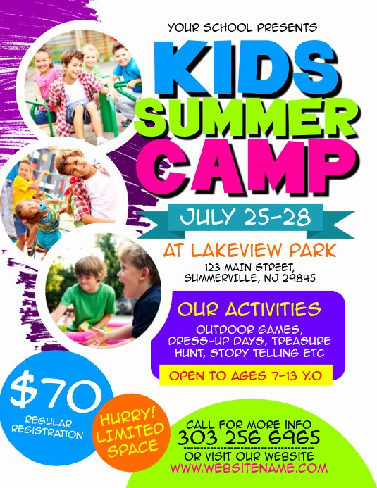 Summer Camp Flyer Templates Free Luxury Kids Summer Camp Flyer Template