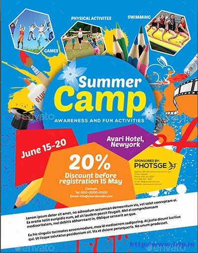 Summer Camp Flyer Templates Free New 40 Best Kids Summer Camp Flyer Print Templates 2016