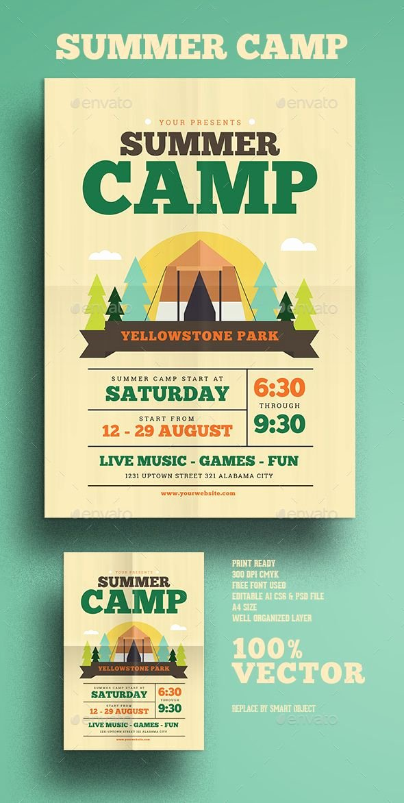 Summer Camp Flyer Templates Free New Summer Camp Flyer