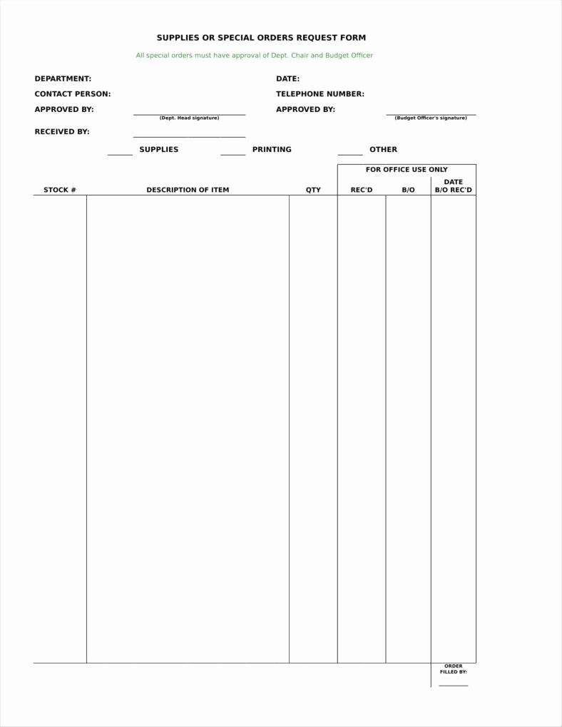 Supply order form Template Elegant 9 Equipment order form Templates
