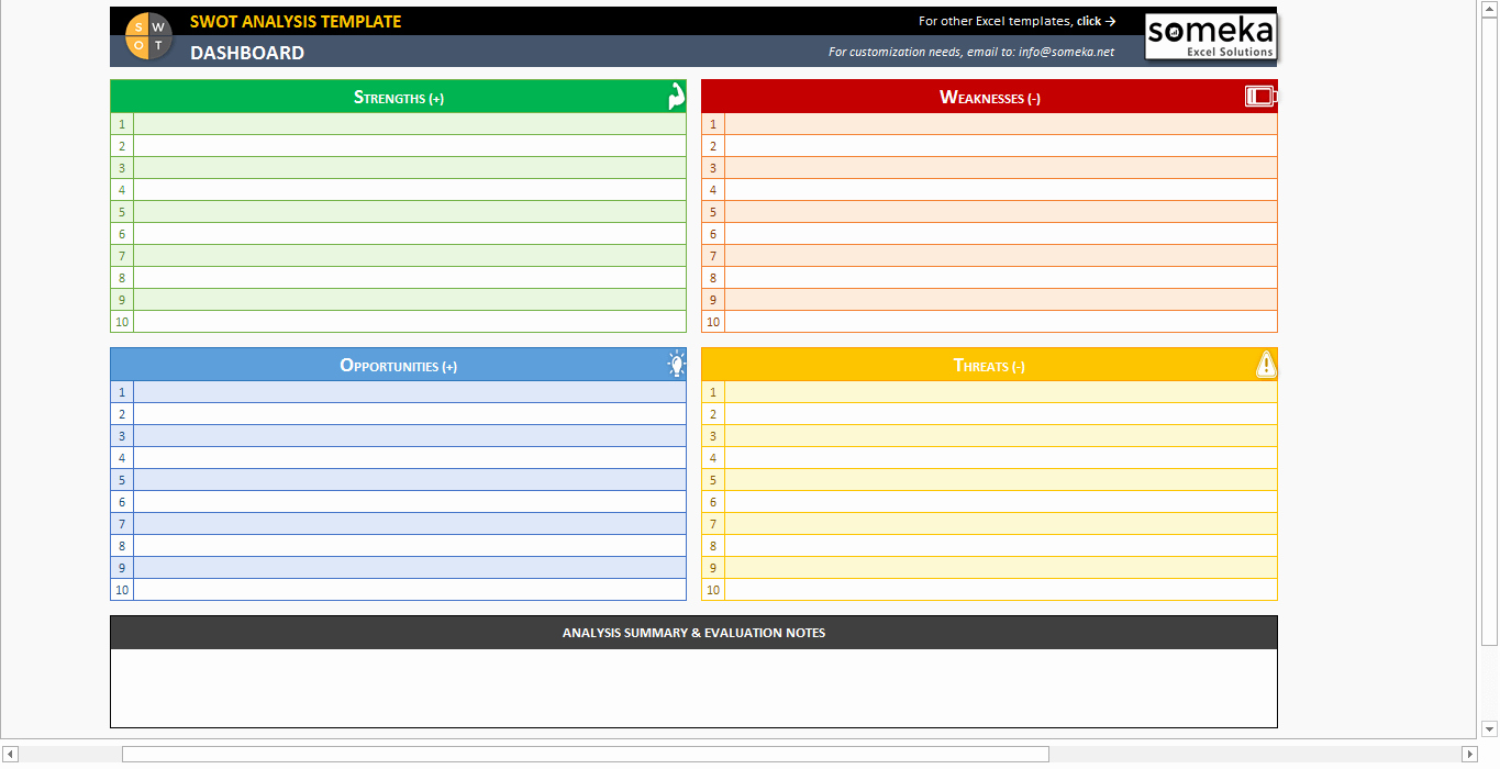 Swot Analysis Template Excel Beautiful Swot Analysis Template Printable and Free Excel Spreadsheet