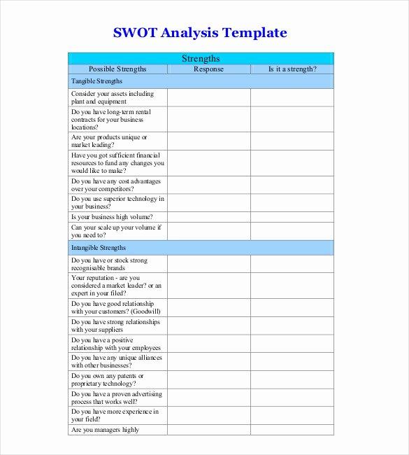 Swot Analysis Template Excel Elegant 6 Blank Swot Analysis Templates Free Sample Example