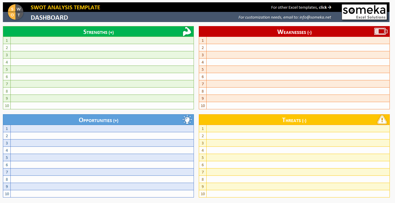 Swot Analysis Template Excel Luxury Swot Analysis Template Printable and Free Excel Spreadsheet
