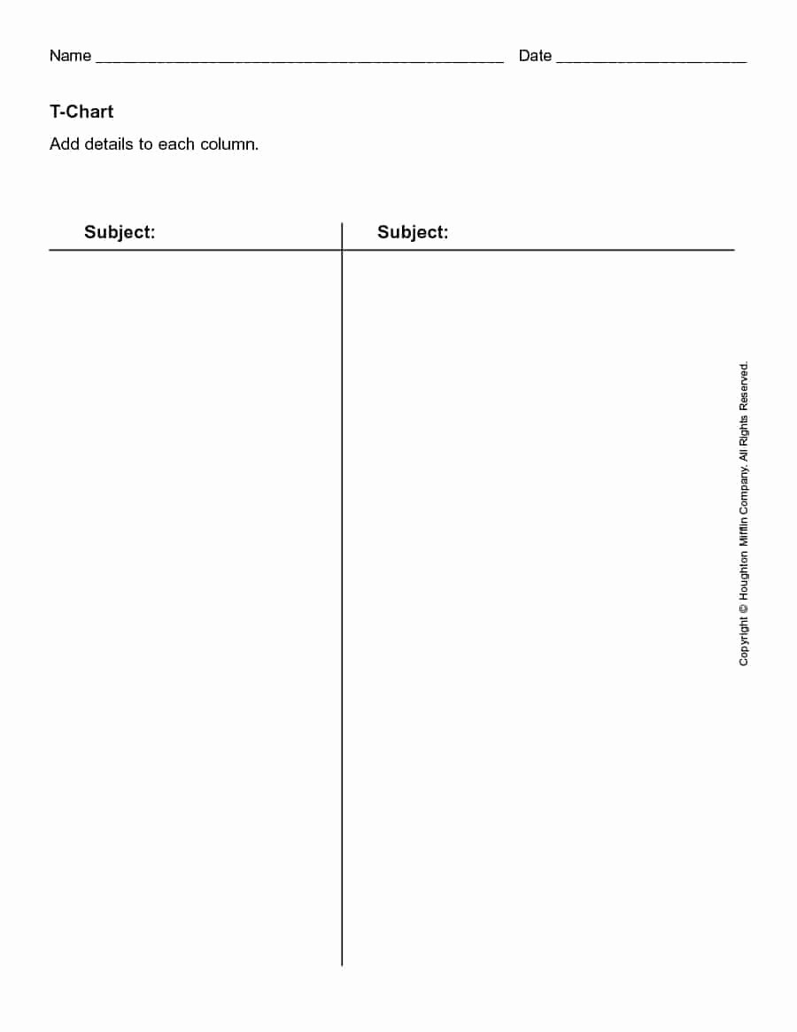 T Chart Template Pdf Fresh 30 Printable T Chart Templates & Examples Template Archive
