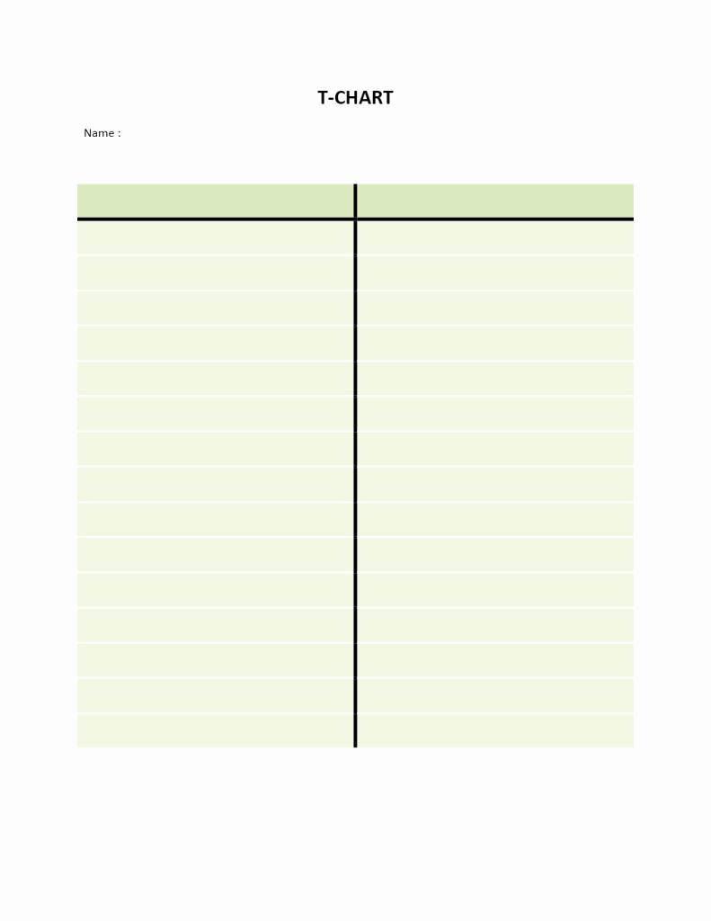 T Chart Template Word Inspirational T Chart
