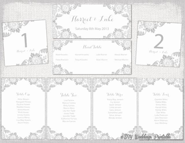 "T Chart Template Word Luxury Wedding Seating Chart Template Silver Gray ""antique Lace"