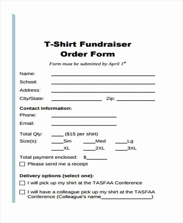 T Shirt form Template Best Of Simple order forms