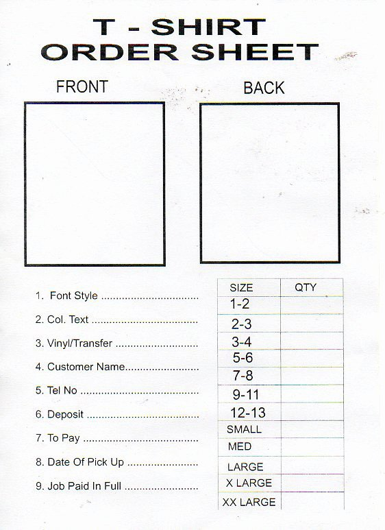 T Shirt form Template Lovely Tshirt order form