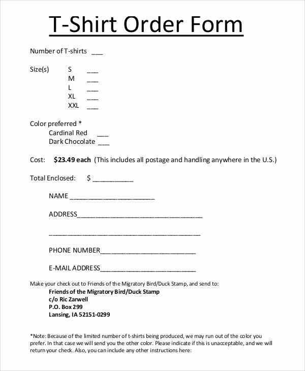 T Shirt order forms Templates Awesome Sample T Shirt order form 11 Examples In Pdf Word