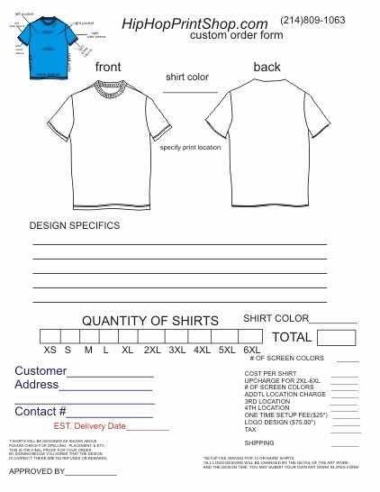 T Shirt order forms Templates Awesome T Shirt order form Template