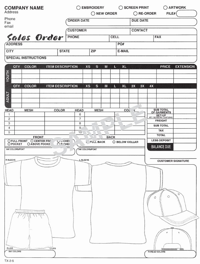 T Shirt order forms Templates Lovely T Shirt order form