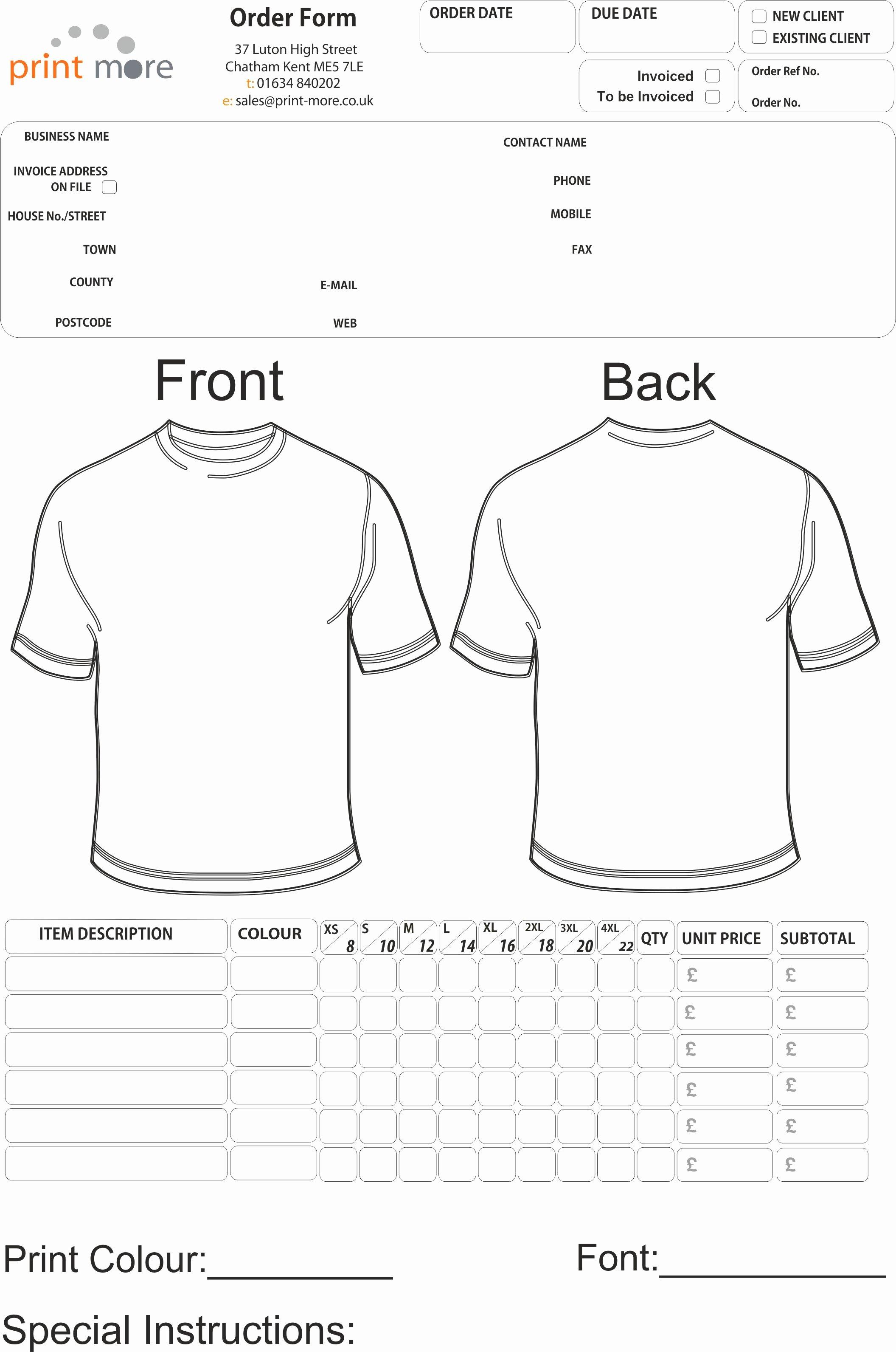 T Shirt order Template Elegant T Shirt order form Template