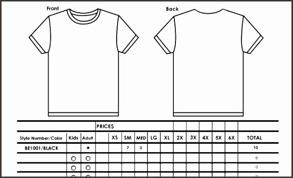 T Shirt order Template Fresh 9 T Shirt order form Template Excel Sampletemplatess