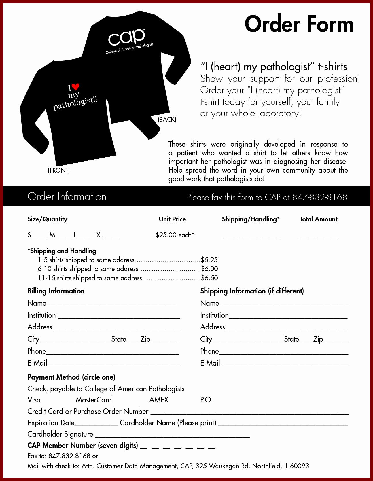 T Shirt order Template Fresh T Shirt order form Template