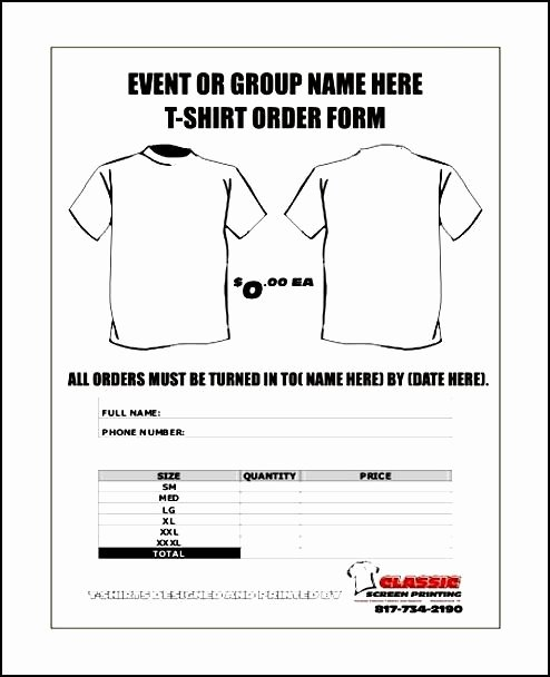 T Shirt order Template Unique Free order form Template Word