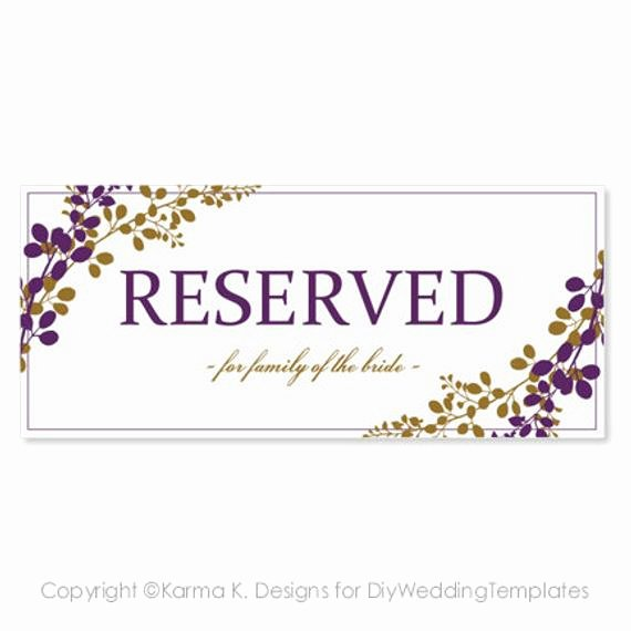 Table Tent Template Word Elegant Reserved Sign Template Download Instantly by
