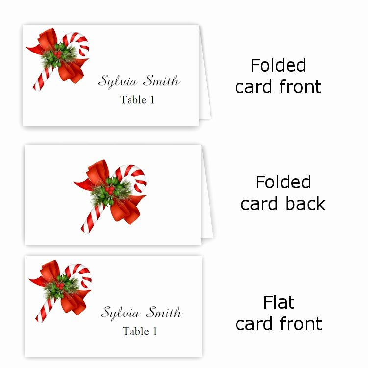 Table Tent Template Word Lovely Candy Cane Folded Table Tent & Flat Place Card Templates