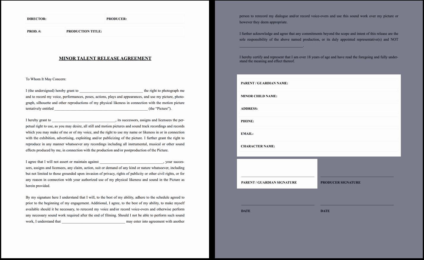 Talent Management Contract Template Beautiful the Plete Guide to Actor Release forms Free Template