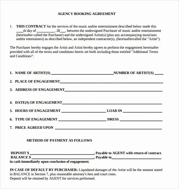 Talent Management Contract Template Best Of 12 Artist Contract Templates Pages Word Docs