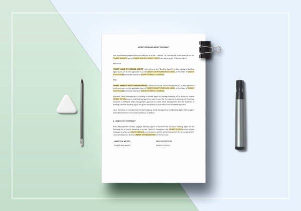 Talent Management Contract Template Elegant Agent Contract Template 10 Free Word Pdf format