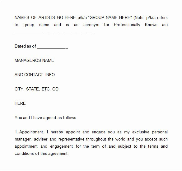 Talent Management Contract Template Fresh 6 Artist Management Contract Templates Word Pdf
