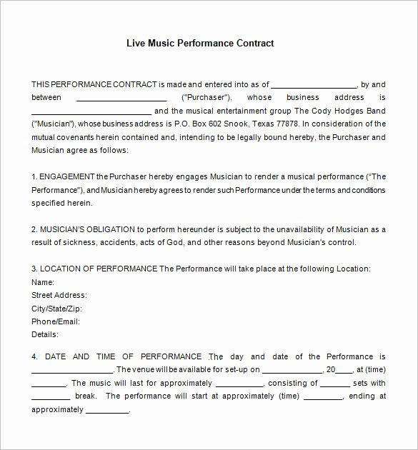 Talent Management Contract Template Lovely Artist Management Contract