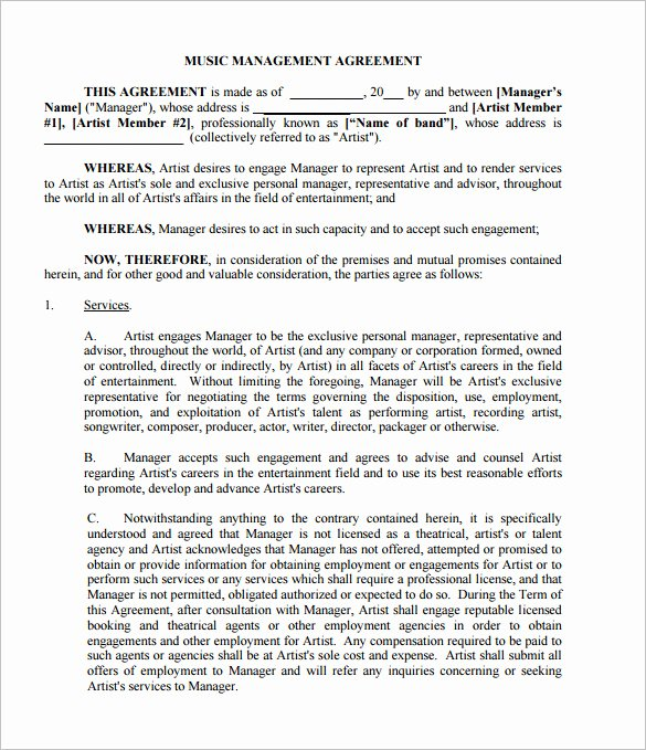 Talent Management Contract Template Luxury 20 Music Contract Templates Word Pdf Google Docs