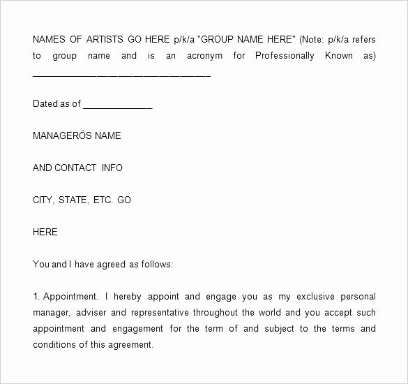 Talent Management Contract Template New Entertainment Management Contract Template – Startick