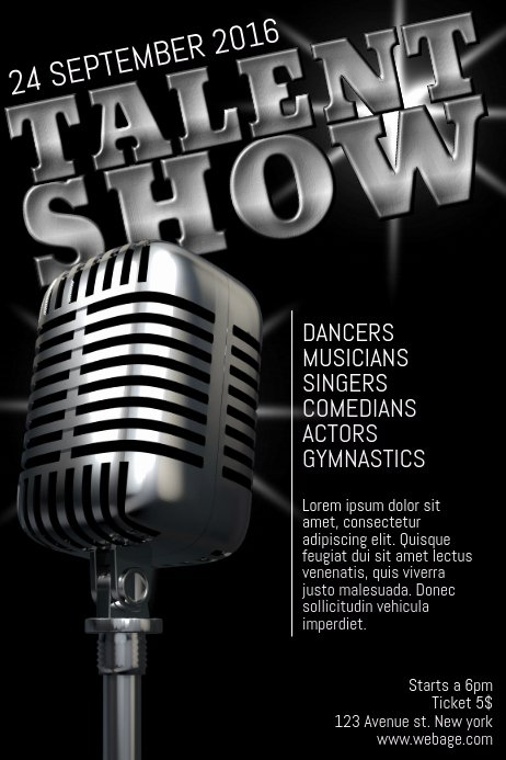 Talent Show Flyer Template Free Luxury Talent Show Poster Flyer Template