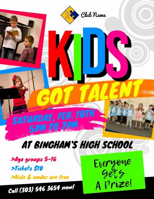 Talent Show Flyer Template Inspirational Kids Got Talent Flyer Template