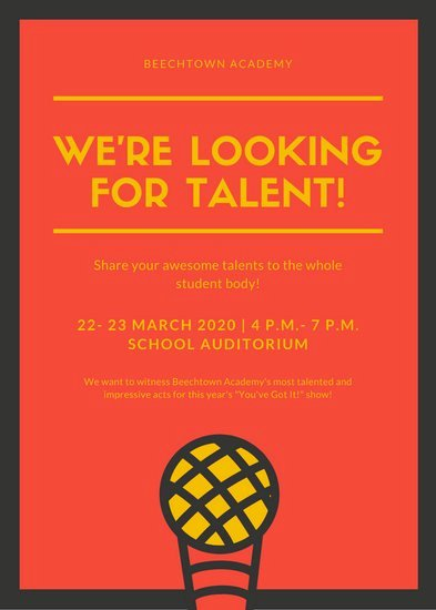 Talent Show Flyer Template New Customize 69 Talent Show Flyer Templates Online Canva